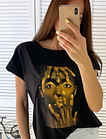 cheap -Women's Daily T-shirt - Portrait Black