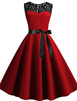 cheap -Women's Red Green Dress Vintage Style Street chic Party Daily Swing Solid Color Patchwork Print S M / Cotton