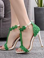 cheap -Women's Sandals Stiletto Heel Open Toe Rhinestone / Pearl / Satin Flower PU Business / Minimalism Spring &  Fall / Spring & Summer White / Purple / Yellow / Wedding / Party & Evening / Color Block