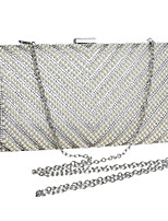 cheap -Women's Pearls / Chain Polyester Evening Bag Geometric Pattern Black / Gold / Silver