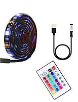 cheap -5m TV Background Light Strip Flexible LED Light Strips / RGB Strip Lights 150 LEDs SMD5050 10mm 1 24Keys Remote Controller 1 set Multi Color Waterproof / USB / Self-adhesive 5 V