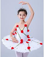 cheap -Kids' Dancewear / Gymnastics / Ballet Leotards / Tutus & Skirts Girls' Performance / Theme Party Polyester / Tulle Embroidery / Pleats / Crystals / Rhinestones Sleeveless Leotard / Onesie / Dress