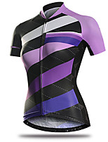 cheap -21Grams Women's Short Sleeve Cycling Jersey 100% Polyester Purple Bike Jersey Top Mountain Bike MTB Road Bike Cycling UV Resistant Breathable Quick Dry Sports Clothing Apparel / Stretchy