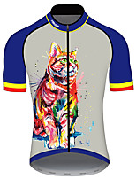 cheap -21Grams Men's Short Sleeve Cycling Jersey Jacinth +Gray Cat Animal Bike Jersey Top Mountain Bike MTB Road Bike Cycling UV Resistant Breathable Quick Dry Sports Clothing Apparel / Stretchy / Race Fit