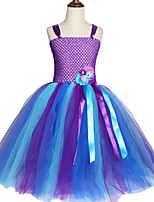 cheap -Kids Toddler Girls' Sweet Cute Solid Colored Mesh Sleeveless Midi Dress