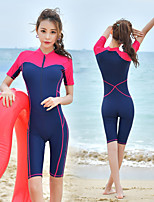 cheap -Women's Rash Guard Dive Skin Suit Elastane Swimwear UV Sun Protection Breathable Quick Dry Short Sleeve Front Zip - Swimming Surfing Water Sports Patchwork Summer / High Elasticity