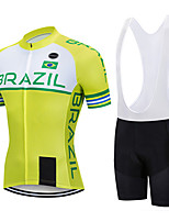 cheap -21Grams Men's Short Sleeve Cycling Jersey with Bib Shorts Black / Yellow Brazil National Flag Bike Clothing Suit UV Resistant Breathable 3D Pad Quick Dry Sweat-wicking Sports Letter & Number Mountain