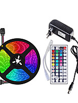 cheap -5m Flexible LED Light Strips / Light Sets / RGB Strip Lights 150 LEDs SMD5050 10mm 1 44Keys Remote Controller / 1 X 12V 3A Power Supply 1 set Multi Color Waterproof / Cuttable / Decorative 12 V