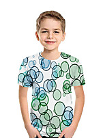 cheap -Kids Boys' Active Street chic Geometric 3D Patchwork Pleated Print Short Sleeve Blouse Rainbow