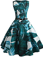 cheap -Women's Light Green Dress Vintage Style Street chic Party Daily Swing Print Tropical Leaf Patchwork Print S M / Cotton