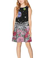 Недорогие -Дети Девочки Классический Симпатичные Стиль Галактика С принтом Без рукавов Выше колена Платье Черный
