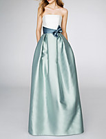cheap -A-Line Strapless Floor Length Satin Color Block / Blue Prom / Formal Evening Dress with Bow(s) / Pleats 2020