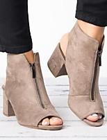cheap -Women's Sandals Chunky Heel Open Toe Suede Summer Burgundy / Black / Gray