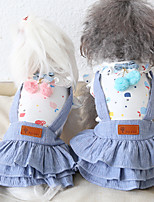 cheap -Dog Costume Dress Dog Clothes Breathable Pink Blue Birthday Costume Beagle Bichon Frise Chihuahua Cotton Bowknot Party Cute XS S M L XL