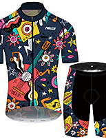cheap -21Grams Men's Short Sleeve Cycling Jersey with Shorts Black / Yellow Floral Botanical Bike Clothing Suit UV Resistant Breathable 3D Pad Quick Dry Sweat-wicking Sports Floral Botanical Mountain Bike