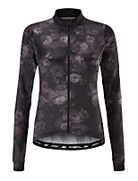cheap -21Grams Women's Long Sleeve Cycling Jersey 100% Polyester Dark Grey Floral Botanical Bike Jersey Top Mountain Bike MTB Road Bike Cycling UV Resistant Breathable Quick Dry Sports Clothing Apparel