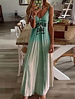 cheap -Women's Swing Dress - Color Block Maxi Blushing Pink Blue Green S M L XL