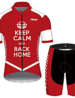 cheap -21Grams Men's Short Sleeve Cycling Jersey with Shorts Black / Red Bike UV Resistant Quick Dry Sports Solid Color Mountain Bike MTB Road Bike Cycling Clothing Apparel / Stretchy