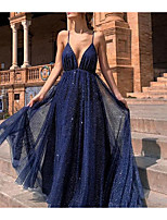 cheap -A-Line Sparkle Blue Party Wear Formal Evening Dress V Neck Sleeveless Sweep / Brush Train Chiffon with Sequin 2020