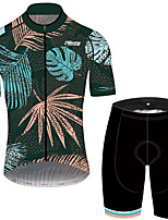 cheap -21Grams Men's Short Sleeve Cycling Jersey with Shorts Green / Yellow Floral Botanical Bike UV Resistant Quick Dry Sports Patterned Mountain Bike MTB Road Bike Cycling Clothing Apparel / Stretchy