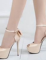 cheap -Women's Heels Stiletto Heel Peep Toe PU Spring & Summer Black / Red / Beige