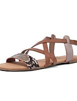 cheap -Women's Sandals Flat Heel Round Toe Microfiber Summer Brown
