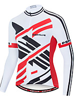 cheap -EVERVOLVE Men's Long Sleeve Cycling Jersey Terylene Black / White Stripes Geometic Bike Jersey Top Mountain Bike MTB Road Bike Cycling Breathable Quick Dry Sweat-wicking Sports Clothing Apparel