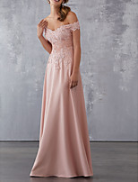 cheap -A-Line Off Shoulder Floor Length Chiffon Sparkle / Pink Prom / Formal Evening Dress with Pleats / Beading / Appliques 2020