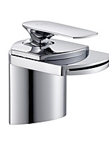 cheap -Bathroom Sink Faucet - Standard / Waterfall Electroplated Centerset Single Handle One HoleBath Taps