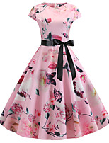 cheap -Women's Blushing Pink Dress Vintage Style Street chic Party Daily Swing Floral Print Patchwork Print S M / Cotton