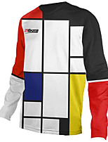 cheap -21Grams Men's Long Sleeve Cycling Jersey Downhill Jersey Dirt Bike Jersey 100% Polyester Black / White Plaid / Checkered Bike Jersey Top Mountain Bike MTB Road Bike Cycling UV Resistant Breathable