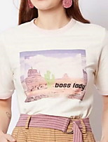 cheap -Women's Daily T-shirt - Letter White
