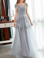 cheap -A-Line Jewel Neck Floor Length Tulle Red / Grey Engagement / Formal Evening Dress with Appliques 2020