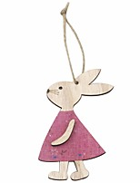 cheap -Happy Easter bunny egg Holiday Decorations wood decorative set