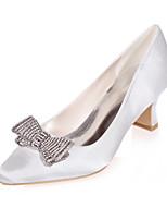 cheap -Women's Heels Block Heel Square Toe Rhinestone / Bowknot Satin Minimalism Fall / Spring & Summer Black / White / Purple / Wedding / Party & Evening
