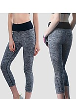 cheap -Women's High Waist Yoga Pants Grey Running Fitness Gym Workout 3/4 Tights Sport Activewear Butt Lift Tummy Control Stretchy Skinny Slim