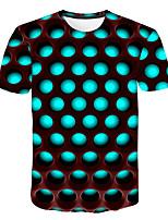 Недорогие -Дети Мальчики Классический Уличный стиль Контрастных цветов 3D Радужный С принтом С короткими рукавами Футболка Светло-зеленый