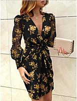 cheap -Women's Yellow Blushing Pink Dress Sheath Print Deep V S M