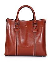 cheap -Women's Zipper Cowhide Top Handle Bag Solid Color Dark Brown / Wine / Black