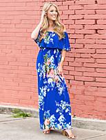 cheap -Women's Maxi A Line Dress - Floral Off Shoulder Blue Red S M L XL