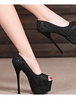 cheap -Women's Heels Stiletto Heel Peep Toe PU Spring & Summer Black / Silver