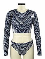 cheap -Women's Basic Fuchsia Royal Blue Cheeky Tankini Swimwear Swimsuit - Geometric Print S M L Fuchsia
