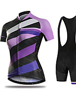 cheap -21Grams Women's Short Sleeve Cycling Jersey with Bib Shorts Purple Pink Orange Bike Breathable Quick Dry Sports Solid Color Mountain Bike MTB Road Bike Cycling Clothing Apparel / Micro-elastic