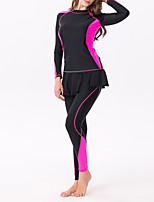 cheap -Women's Rashguard Swimsuit Elastane Top Bottoms Thermal / Warm UV Sun Protection Breathable Full Body 2-Piece - Swimming Diving Water Sports Autumn / Fall Spring Summer / Winter / High Elasticity
