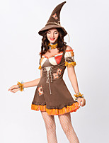 cheap -Scarecrow Outfits Adults' Women's Halloween Halloween Festival / Holiday Polyster Brown Women's Carnival Costumes / Dress / Hat / Neckwear / Wristlet