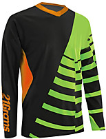 cheap -21Grams Men's Long Sleeve Cycling Jersey Downhill Jersey Dirt Bike Jersey 100% Polyester Black / Red Black / Orange Black / Green Stripes Bike Jersey Top Mountain Bike MTB Road Bike Cycling UV
