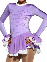 cheap -Figure Skating Dress Women's Girls' Ice Skating Dress Purple Spandex High Elasticity Competition Skating Wear Patchwork Crystal / Rhinestone Long Sleeve Ice Skating Figure Skating / Kids