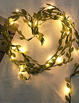 cheap -1X 2M 20Leds Fairy Leaf String Light Warm White Flexible Holiday Lights Copper Wire String Lamp For Wedding Party DIY Decoration (come with out battery)