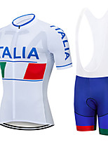 cheap -21Grams Men's Short Sleeve Cycling Jersey with Bib Shorts White Italy National Flag Bike Clothing Suit UV Resistant Breathable 3D Pad Quick Dry Sweat-wicking Sports Italy Mountain Bike MTB Road Bike