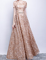 cheap -A-Line Jewel Neck Floor Length Polyester Glittering / Gold Prom / Formal Evening Dress with Sequin / Appliques / Sash / Ribbon 2020